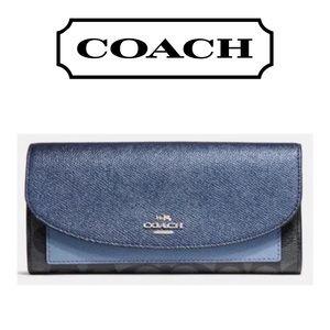 👛 Metallic Navy Leather Color Block Leather Envel